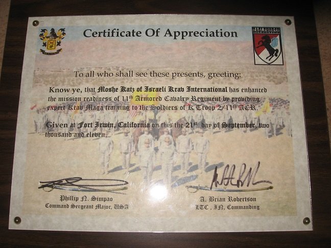 Moshe Katz Ranks Awards – Army Certificate of Appreciation
